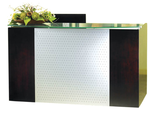 """ESCAPE"" LAMINATED RECEPTION COUNTER WITH METAL MODESTY PANEL"
