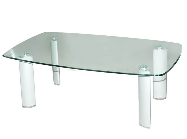COFFEE TABLE – GLASS TOP WITH CHROME LEG