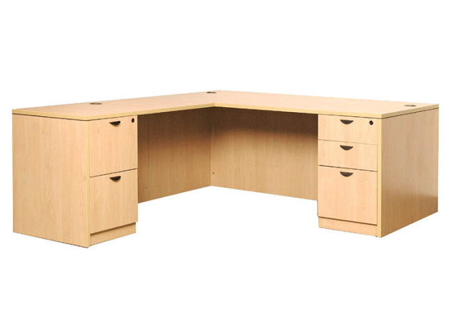 DESK WITH RETURN & 2 FULL PEDESTALS