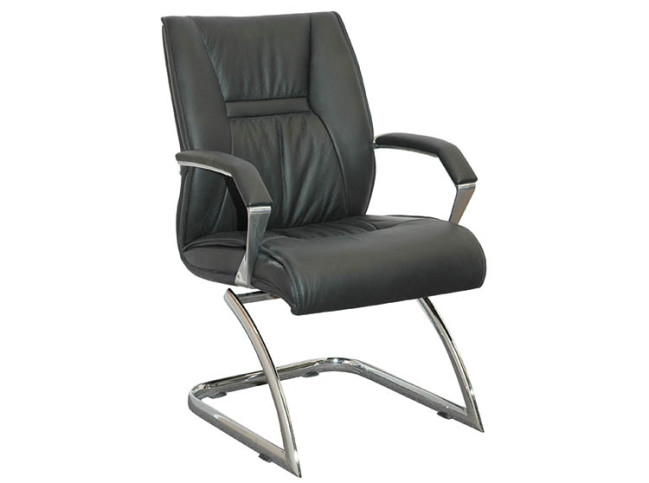 KELLI LEATHER GUEST CHAIR WITH CANTILEVER BASE