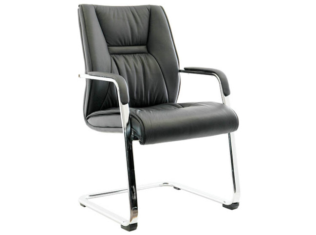 KELLI LEATHER GUEST CHAIR WITH CANTILEVER BASE 2