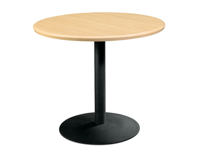 LAMINATE ROUND TABLE WITH METAL BASE