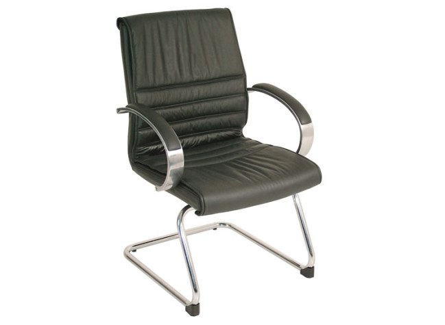 MID BACK LEATHER GUEST CHAIR WITH CANTILEVER BASE
