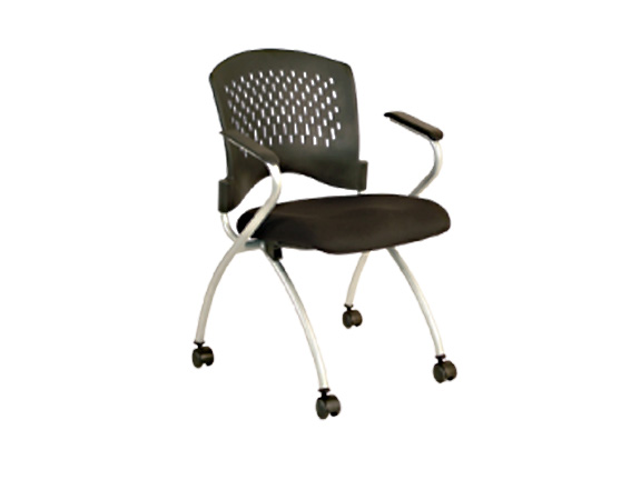 MOBILE PP NESTING CHAIR WITH SILVER POWDER COATED LEGS