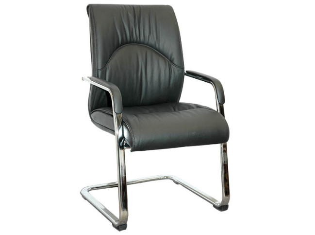 ORMA LEATHER GUEST CHAIR WITH CANTILEVER BASE (2)