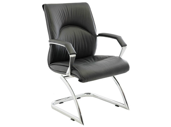 ORMA LEATHER GUEST CHAIR WITH CANTILEVER BASE 2