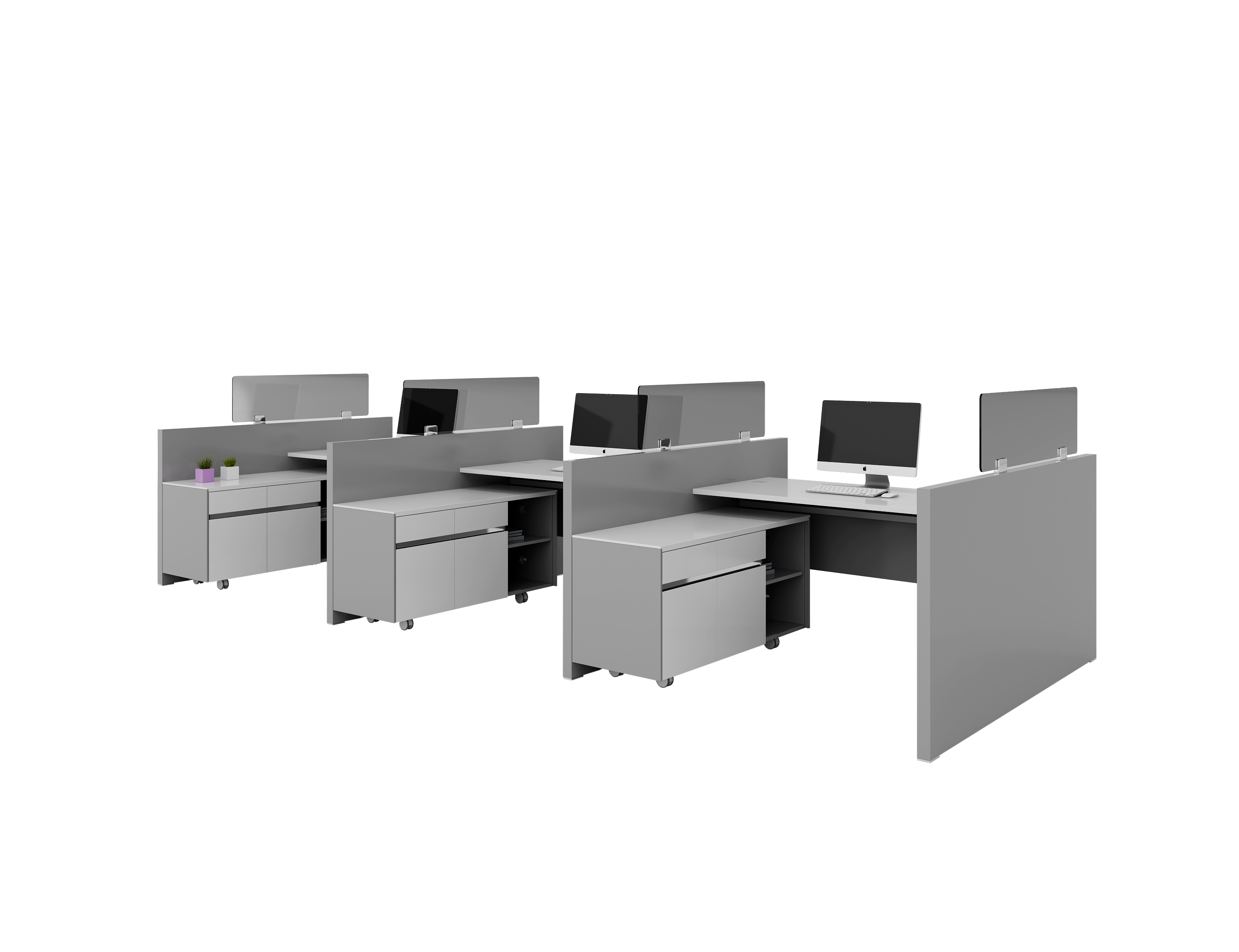 3 People Workstation with Cabinet