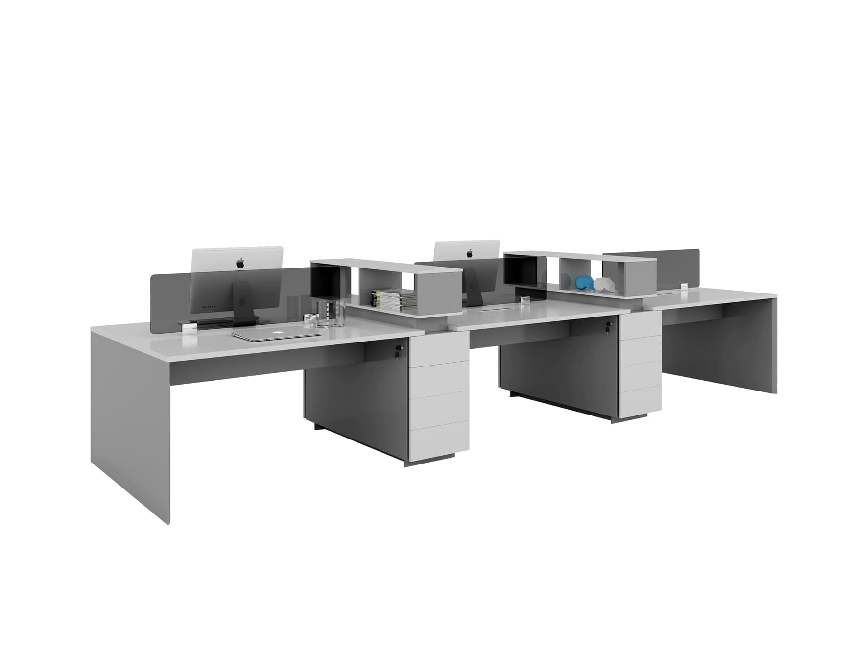 six people workstation with cabinets