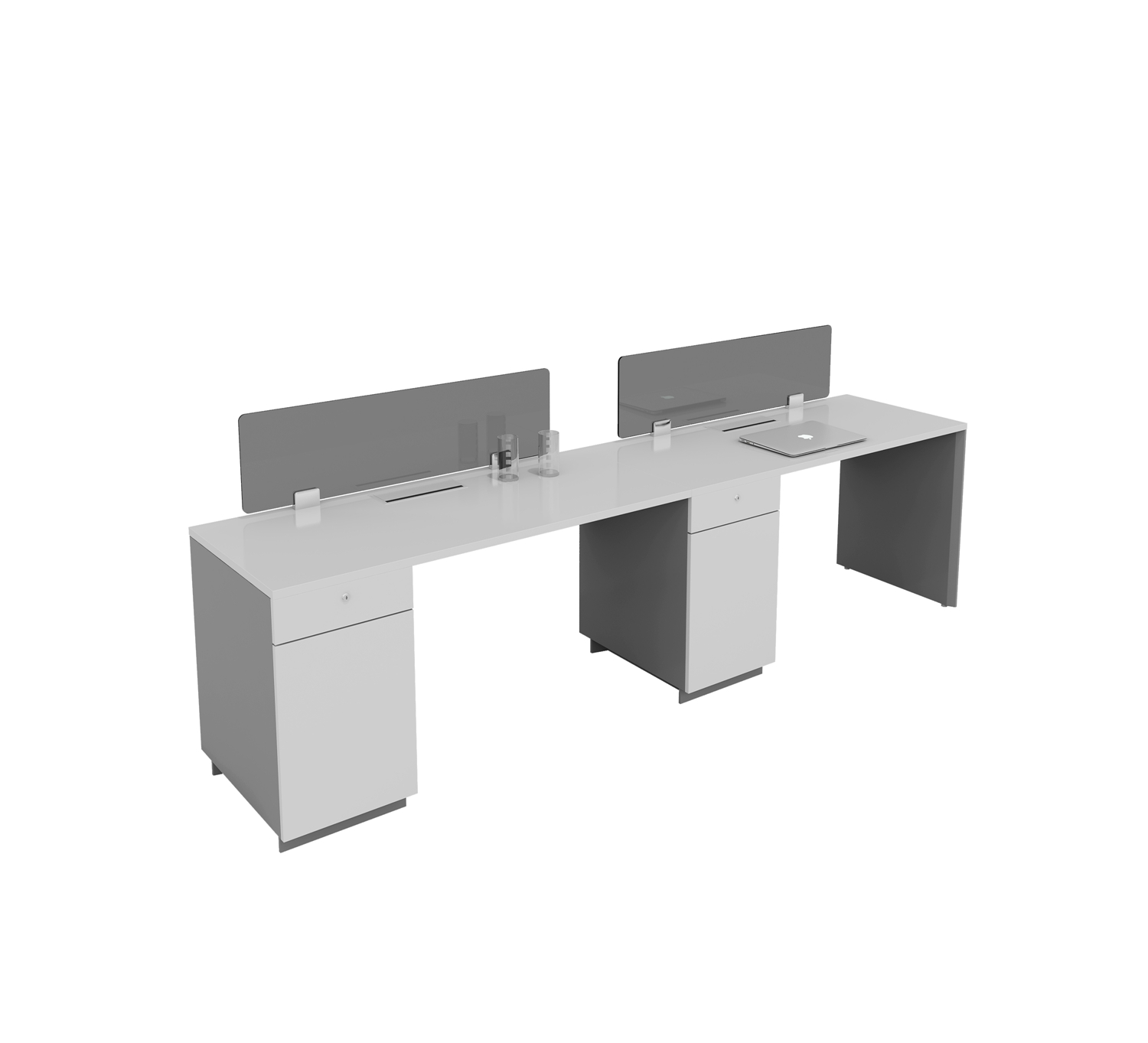 two people workstation with cabinets