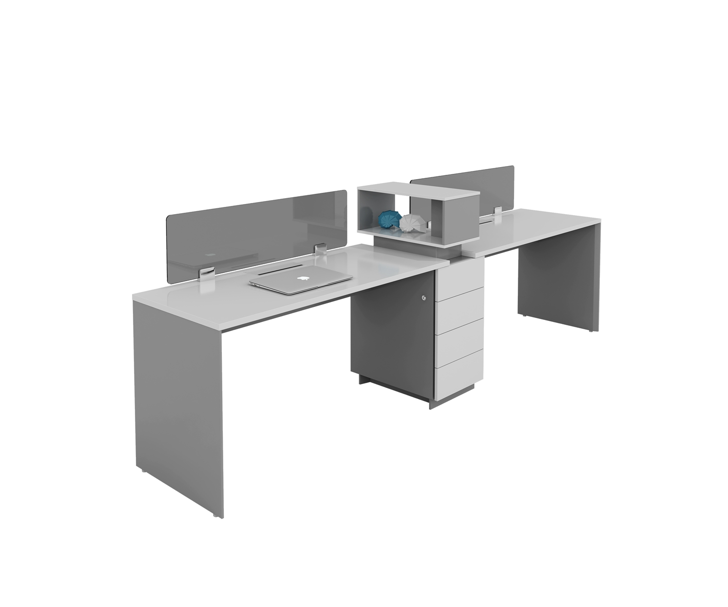 two people workstation with cabinet