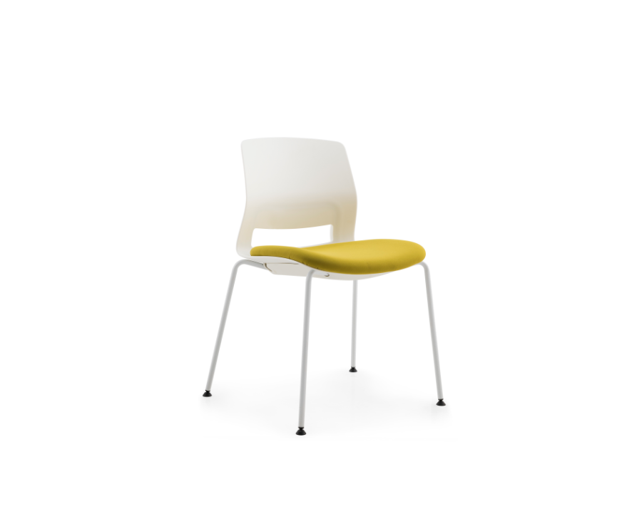 Multi-Purpose Polypropylene Stacking Chair with 4-legs base and upholstered seat