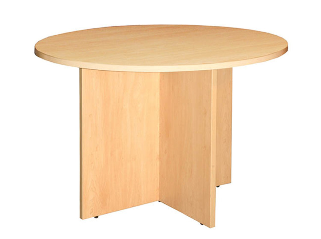 LAMINATED ROUND TABLE WITH CROSS BASE