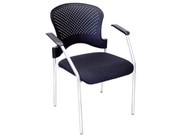 PP STACKING CHAIR WITH 4 SILVER POWDER COATED LEG