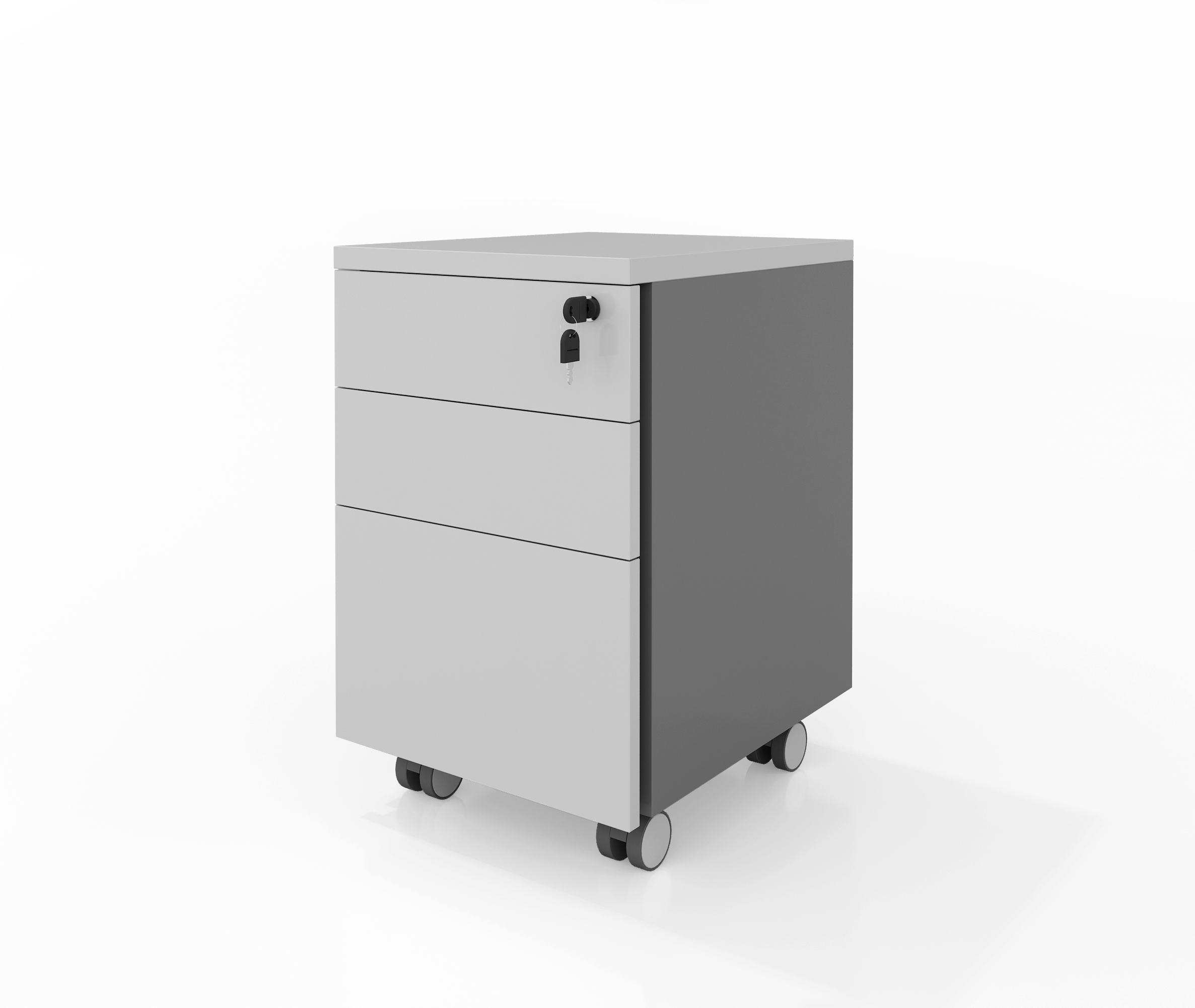 Three Drawers Movable Pedestal