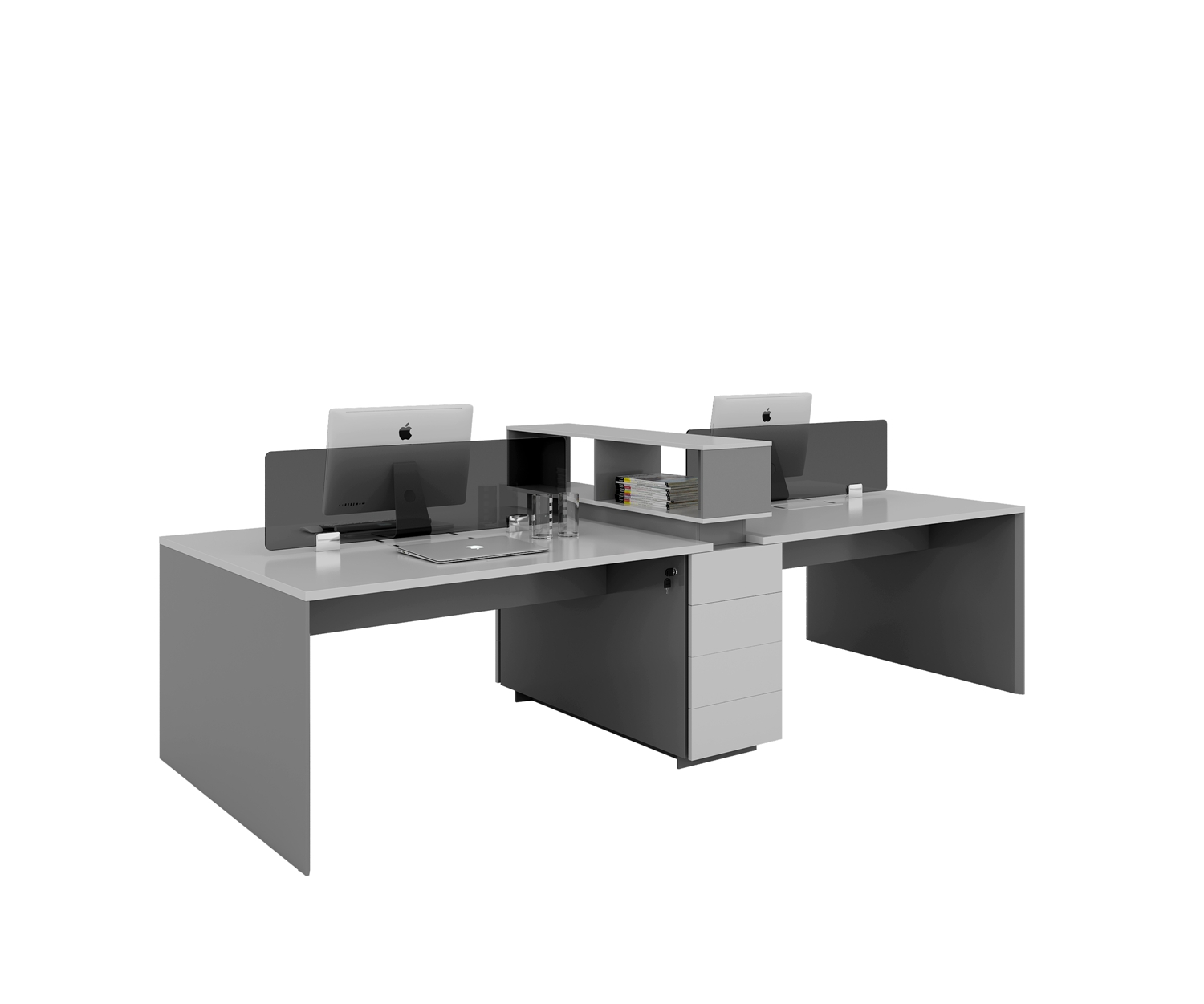 four people workstation with cabinets