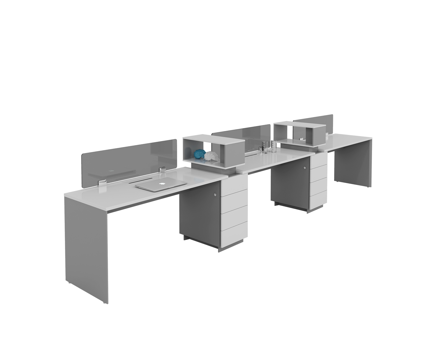three people workstation with cabinets