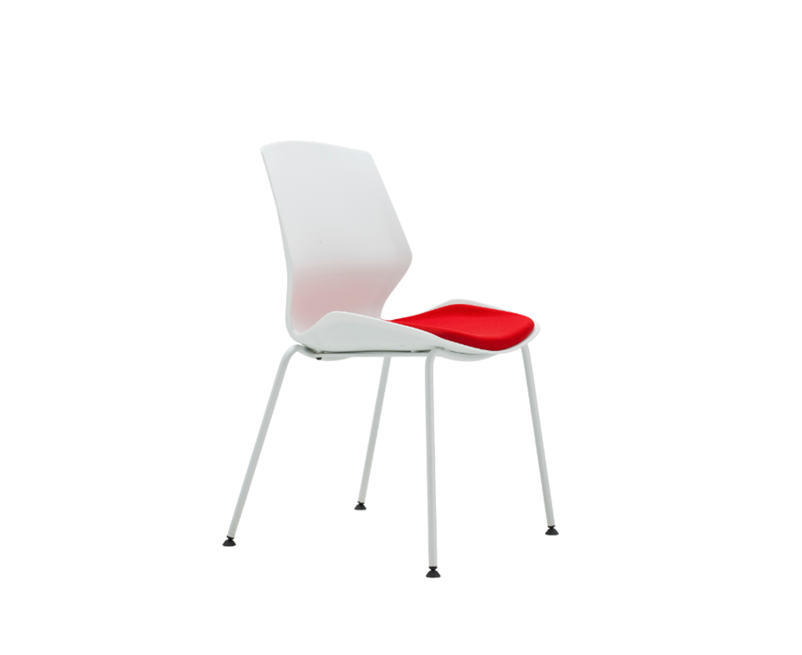 Multi-Purpose Polypropylene Stacking Chair, 4-legs base, with upholstered seat