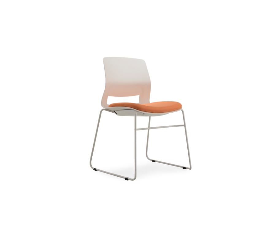 Multi-Purpose Polypropylene Stacking chair, sled base, with upholstered seat.